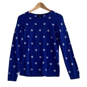 Talbots Womens Size XS NWT Blue Polka Dot 100% Pure Cashmere Sweater Long Sleeve